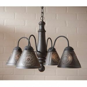 Crestwood Wooden Chandelier In Americana Black Country Style Wood Dining Light