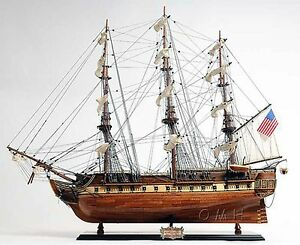 Handmade Wooden Model Ship Uss Constitution New Fully Assembled