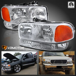For 1999 2006 Gmc Sierra 00 06 Yukon Xl Clear Headlights Bumper Signal Lamps L R