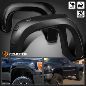 2007 2013 Gmc Sierra 1500 Bolt On Pocket Rivet Style Smooth Fender Flares 4pc
