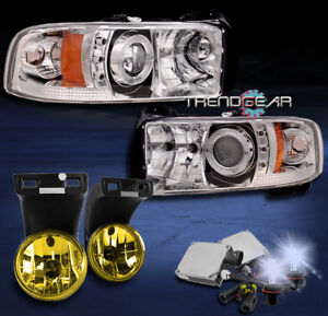 1994 2001 Dodge Ram Halo Led Projector Headlight Yellow Fog Lamp 8k Hid Kit 2500