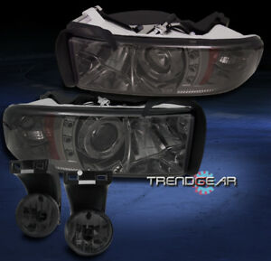1994 2001 Dodge Ram Pickup Halo Led Smoke Projector Headlights W Bumper Fog Lamp