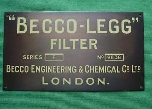 Genuine Brass Vintage Industrial Antique Sign Plaque Becco Engineering Chemical