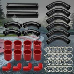 12pcs Aluminum Turbo Intercooler Black Piping Kit red Couplers Is300 Gs300 Is350