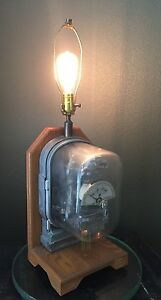 True Vtg Ge General Electric Vm 4a Watthour Demand Meter Custom Ooak Oak Lamp