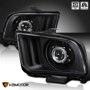 Black 2005 2009 Ford Mustang Retrofit Style Projector Headlights Head Lamps
