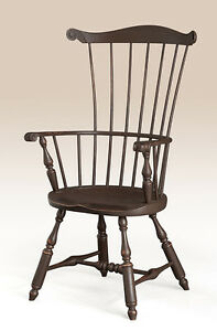 Dining Chair Lancaster County Style Fan Back Windsor Armchair Primitive Brown