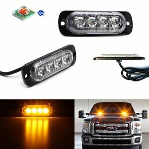 2pc Amber Cree 4 Led Strobe Warning Light Flashers For Truck Trailer Pick Up Suv