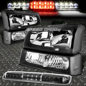 Black Headlight clear Bumper led 3rd Brake cargo Light For 03 07 Chevy Silverado