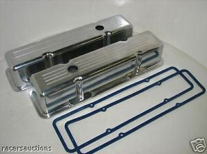 Small Block Chevy Polished Aluminum Ball Millled Tall Valve Covers