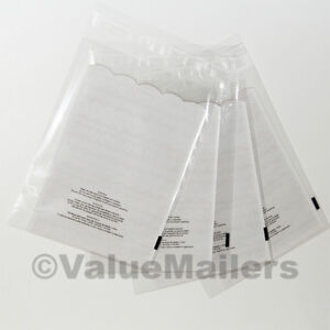 1000 9x12 1 5 Mil Bags Resealable Clear Suffocation Warning Poly Opp Cello Bag