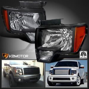 For 2009 2014 Ford F150 Black Replacement Front Headlights Head Lamps Left Right