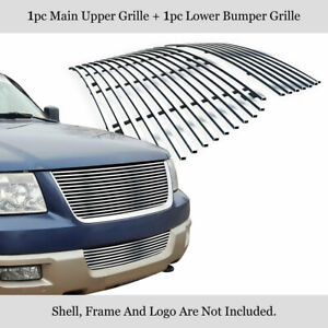 Fits 2003 2006 Ford Expedition 304 Stainless Steel Billet Grille Combo