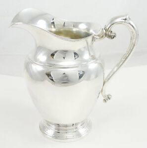 Preisner Sterling Silver Water Pitcher Miscellaneous Hollowware Spit 9 Tall