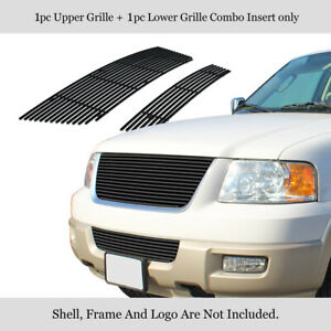 For 2003 2006 Ford Expedition Stainless Steel Black Billet Grille Combo