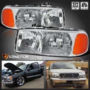 For 1999 2006 Gmc Sierra Yukon Denali Xl Clear Headlights Lamps Left Right Pair
