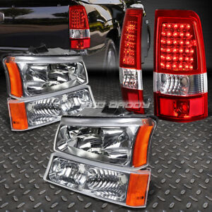 Chrome Crystal Headlight Bumper Red Led Tail Light For 03 07 Chevy Silverado