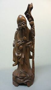 19th C Chinese Hand Carved Wood Immortal Figurine Pomegranates