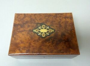 Antique Napoleon Iii French Burl Wood Sewing Box Brass Mop Inlay On Top