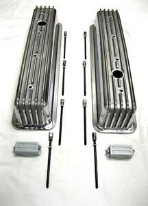 Center Bolt Chevy Polished Aluminum Finned Tall Valve Rocker Covers 305 350 5 0