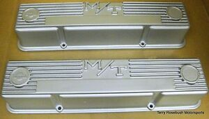 Mickey Thompson 3276000 Early Sb Chevy Alum Valve Covers Silver W Bowtie Logo