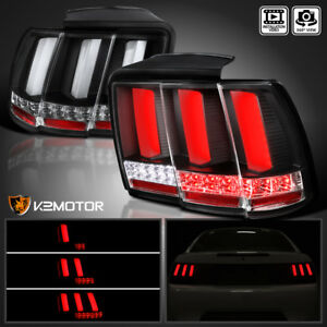black Fit 1999 2004 Ford Mustang Sequential Led Tail Lights Lamps Left right