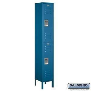 St ard Metal Locker Double Tier 1 Wide 6 Feet High 12 es Deep Blue Assembled