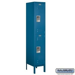 St ard Metal Locker Double Tier 1 Wide 5 Feet High 15 es Deep Blue Assembled
