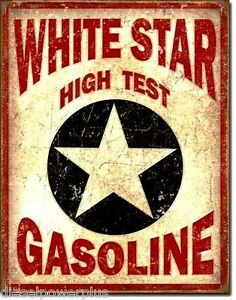 Vintage Replica Tin Metal Sign White Star Gas Gasoline Fuel Station Antique 1999
