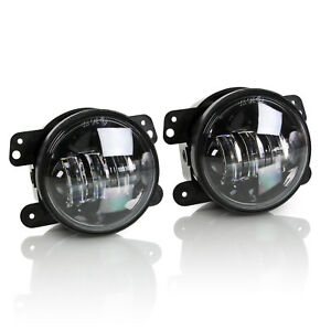 2x Optix 4 Inch Round 30w Cree Led Fog Light 07 16 Jeep Wrangler Jk Lj Tj
