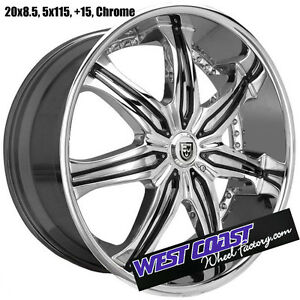 20 Lexani Lx 7 Lx7 Chrome Rims 20x8 5 Rim Set 5 Lug 5x115 15 Chrysler Dodge