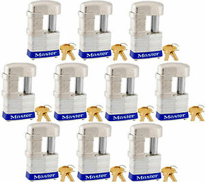 Lock Set By Master 37ka lot Of 10 Keyed Alike Shrouded Laminated Padlocks New