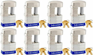 Lock Set By Master 37ka lot Of 8 Keyed Alike Shrouded Laminated Padlocks New