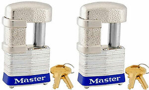 Lock Set By Master 37ka lot Of 2 Keyed Alike Shrouded Laminated Padlocks New