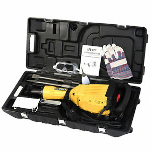 Hd 3600watt Electric Demolition Concrete Jack Hammer Trenching Breaker Case Set