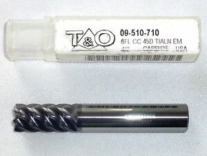 T o Tialn Coated Carbide End Mill 6 Flute 1 2 09 510 710 new