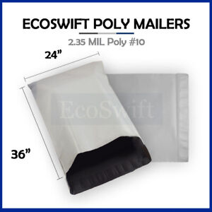 1 24 X 36 Large White Poly Mailers Shipping Envelopes Self Sealing Bags 2 35 Mil