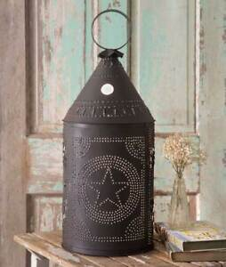 Revere New Large Rustic Brown Punched Tin Star Floor Lantern Light