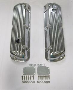 Short Style Ford Sbf 289 302 351w Finned Polished Aluminum Valve Covers Mustang