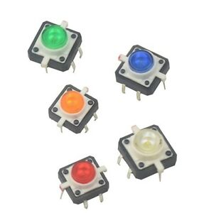 5pcs New 12x12x7 3 Tactile Push Button Switch Momentary Tact Led 5 Color