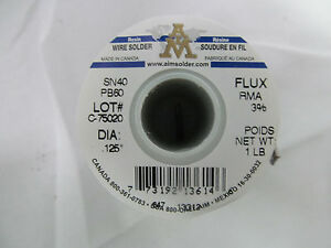 Aim 10 1 Lb Spool Of Wire Solder Flux Sn 40 Pb 60 125 Rosin Core Ebmz0801