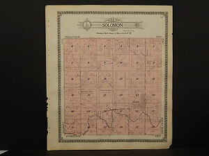 Kansas Phillips County Map 1917 Township Of Solomon Or Rushville P3 37