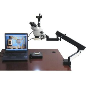 Amscope 3 5x 45x Articulating Zoom Microscope With Fluorescent Light 1 3mp Cam