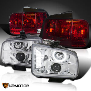 05 09 Mustang Chrome Halo Projector Headlights red Sequential Signal Tail Lamps