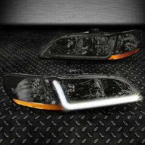 For 1998 2002 Honda Accord Pair Smoked Housing Amber Corner Headlight W led Drl