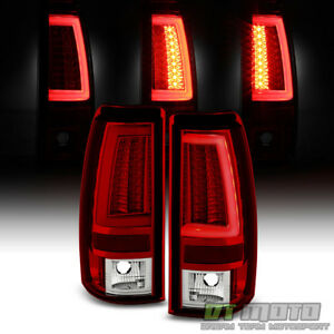 Neon Pyro Tube 2003 2006 Chevy Silverado Red Clear Led Tail Lights Brake Lamps