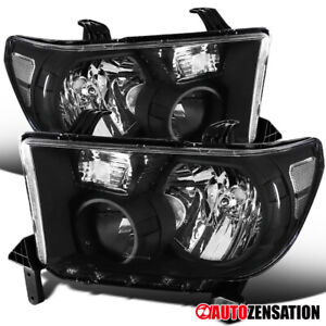 For 2007 2013 Toyota Tundra 2008 2014 Sequoia Black Headlights Lamps Pair