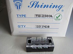 Lot Of 50 Shining Tb 2503l 3 Position Terminal Block Strip 22 12awg New