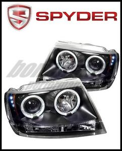 Spyder Jeep Grand Cherokee 99 04 Projector Headlights Led Halo Led Blk