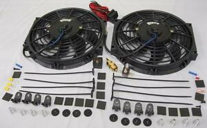 Dual 10 S Blade Electric Radiator Cooling Fans W Thermostat And Mounting Kit